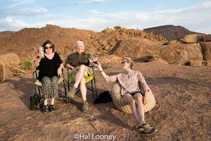 _LM46057 Bert, Dede, Hal at Mowani Lodge, Namibia